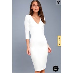 New Lulus Style and Slay White Bodycon Midi Dress